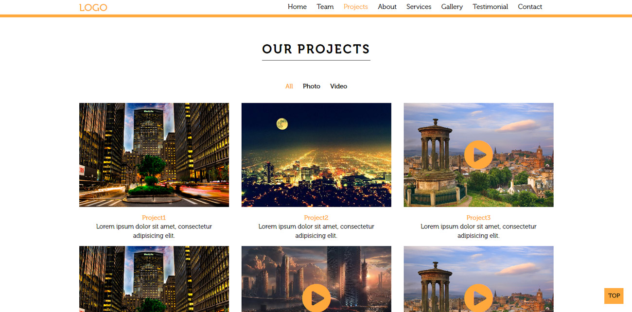 Landing page our projects section