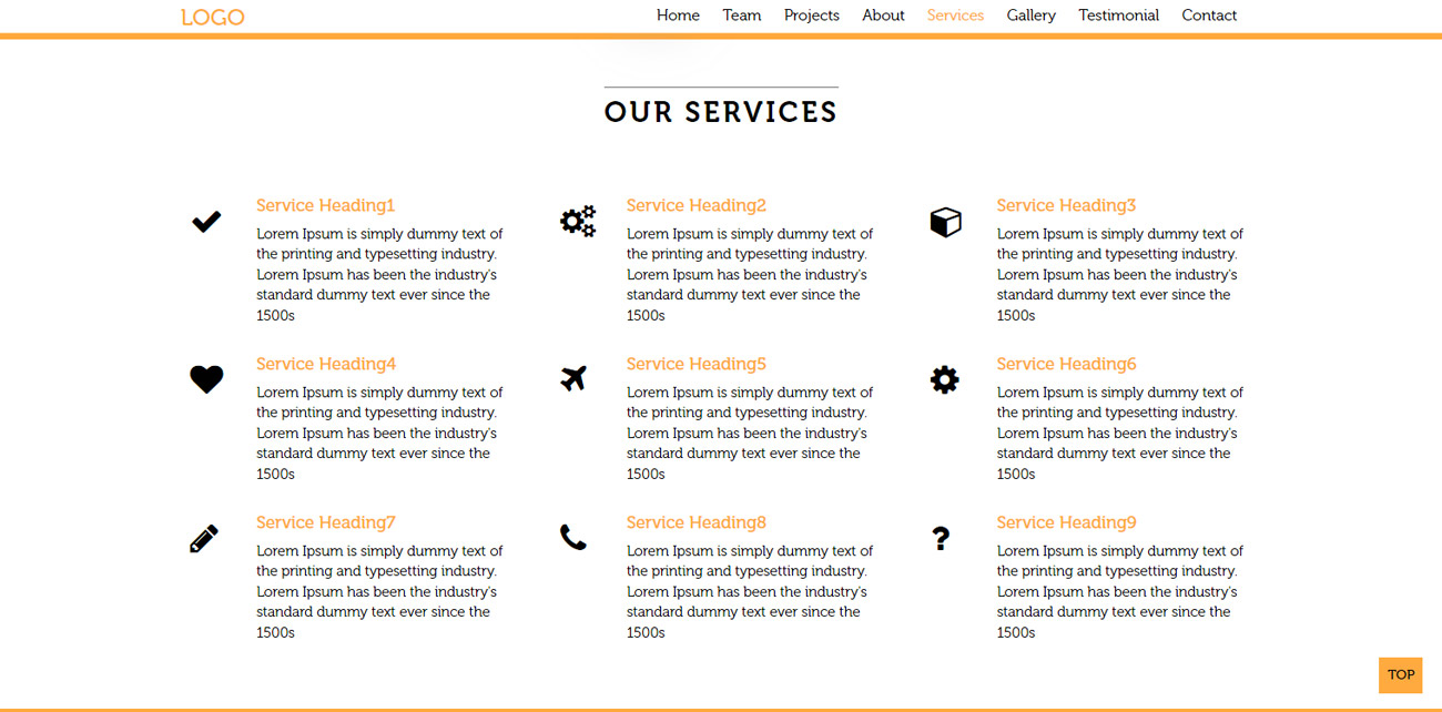 Landing page our services section