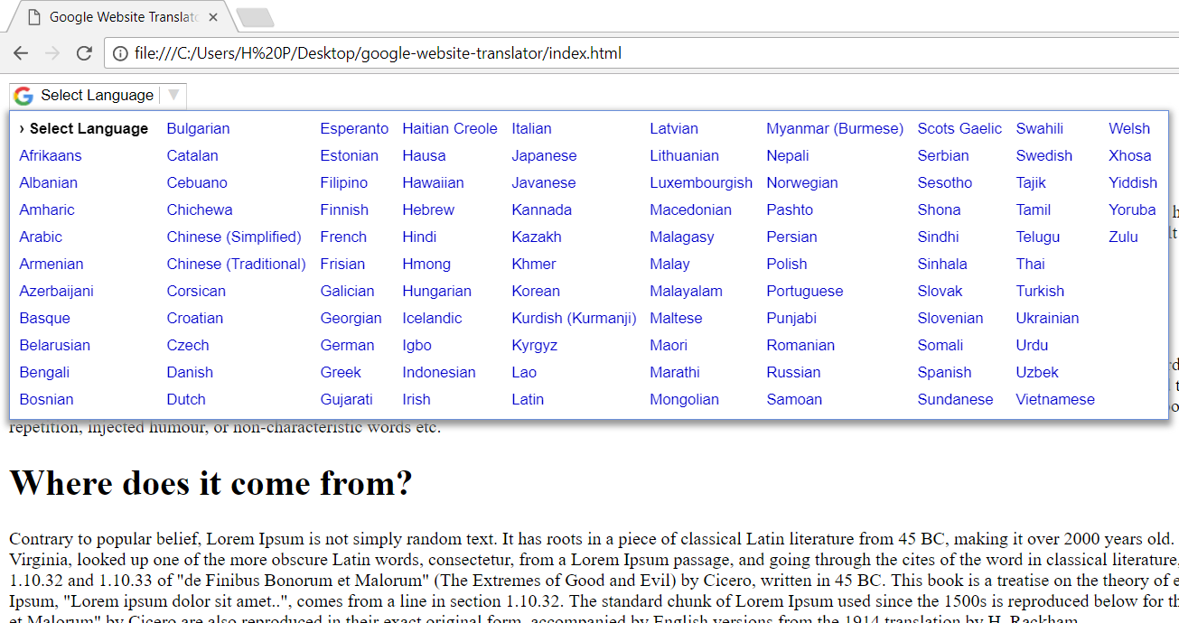 How to add multi-language option in website using google translator