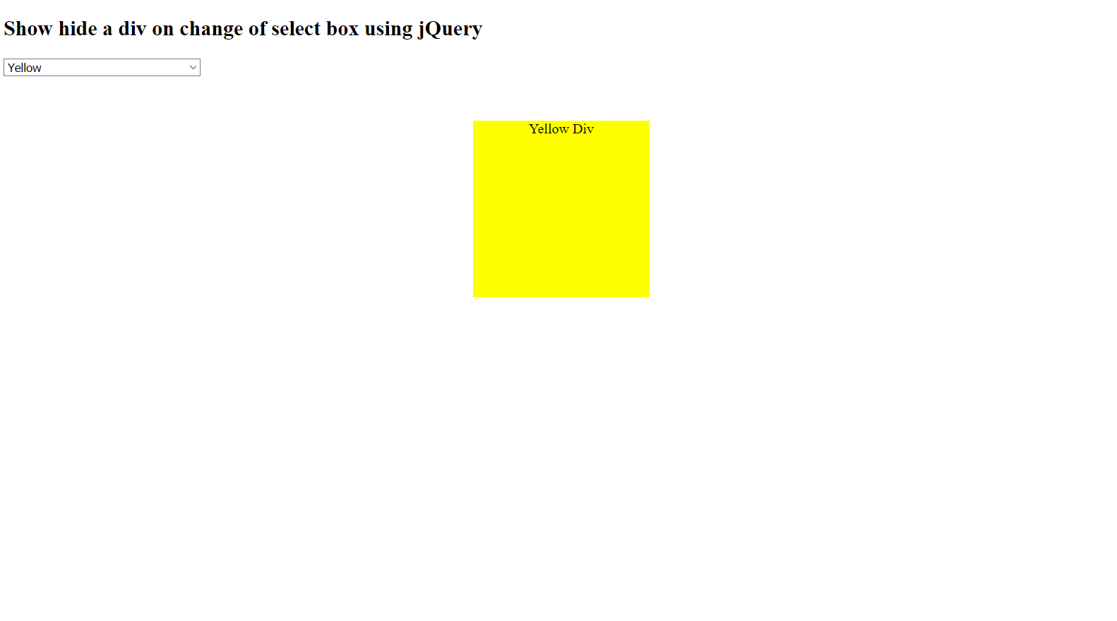Show hide a div on change of select box using jQuery