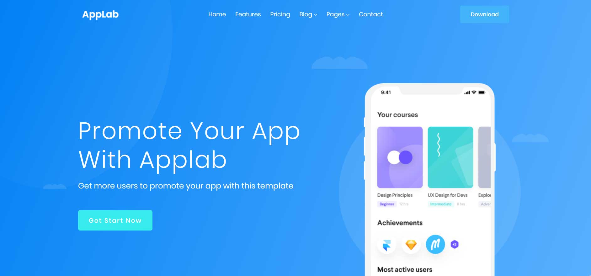 Free App Website applab - free bootstrap html5 mobile app website template - mg