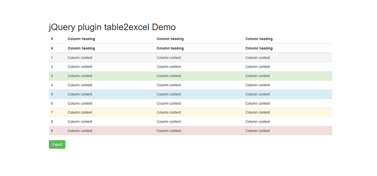 Export HTML table to excel (xls) using jQuery plugin table2excel