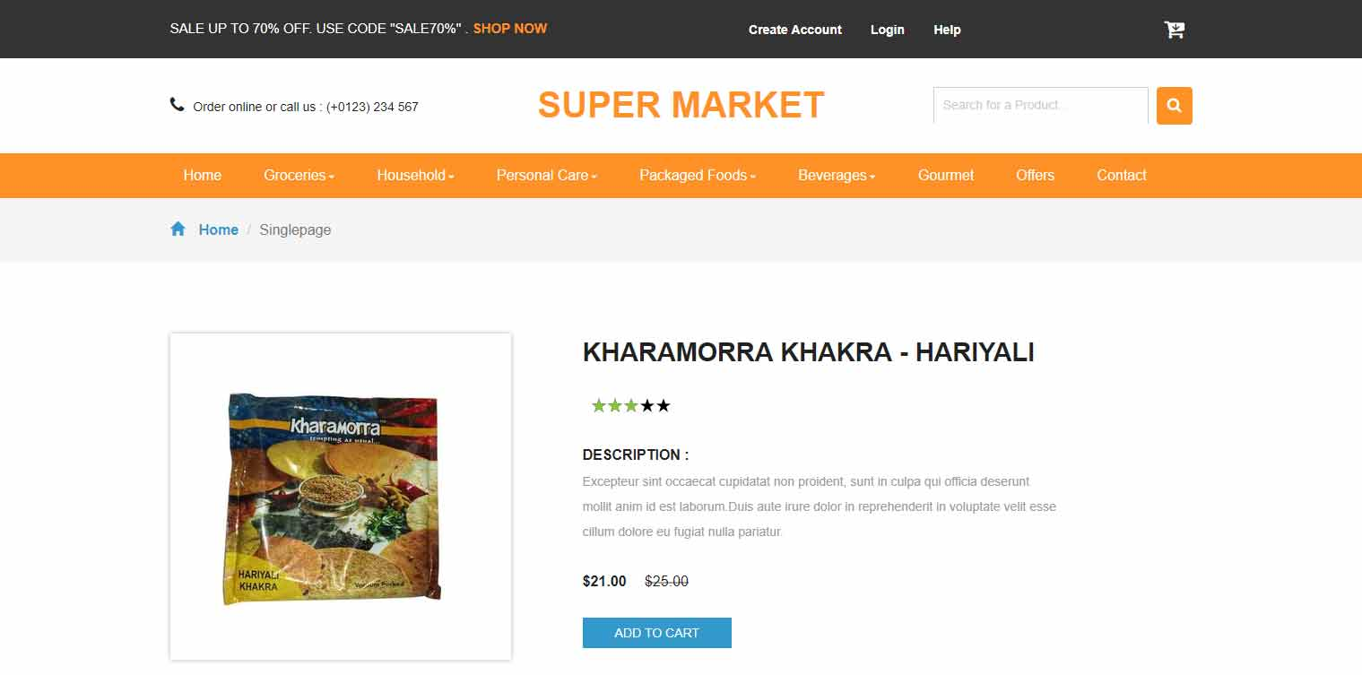 Ecommerce HTML Template - Super Market
