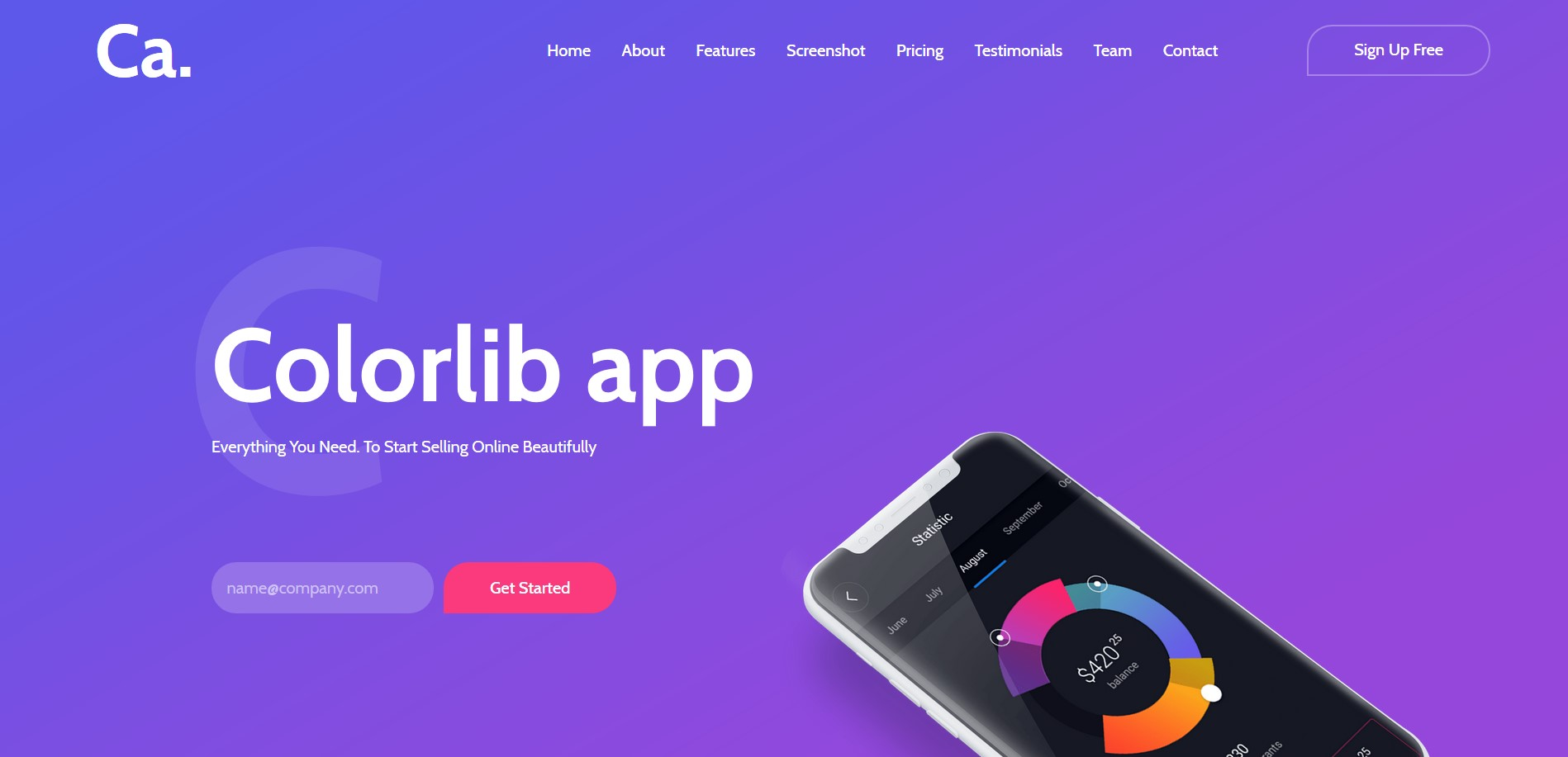 CA App Landing - App Website Template