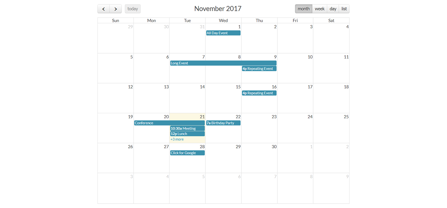 FullCalendar - Simple event calendar JavaScript